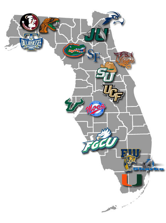 Universities In Florida Map.Map Of Florida Colleges And Universities Bnhspine Com