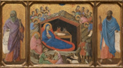 Painting of Nativity and prophets by Duccio di Buoninsegna