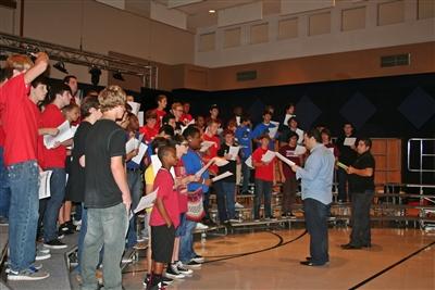 Boys' sectional rehearsing at Van Dyke Church