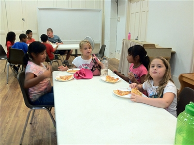 Children at a summer feeding site at Calvary UMC, Lake Worth