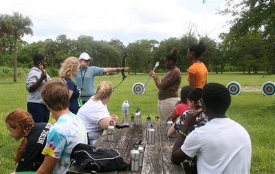 Archery lesson at Riverside Retreat