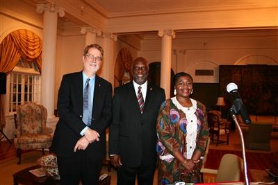 Bishop Ken Carter, James Salley of Africa University and Conference DCM Sharon Austin
