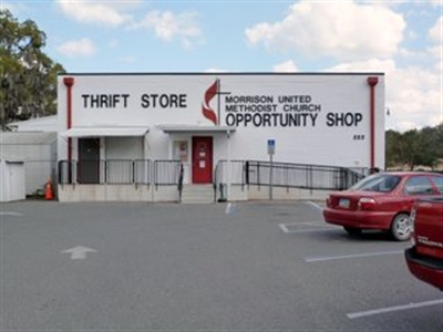 Facade of the Morrison UMC Opportunity Shop thrift store