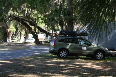 NOMADS vehicle parked in shade at LEC RV site