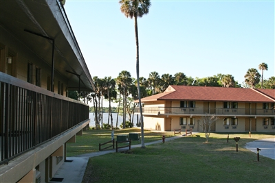 Lodge buildings at the Life Enrichment Center on the lake