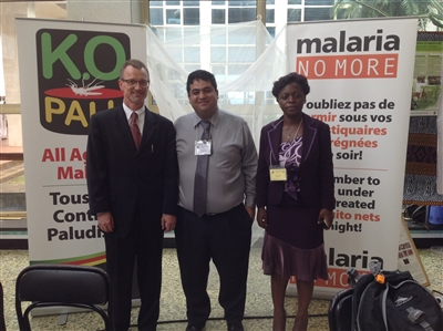 From left, Gregory Thome, U.S. deputy chief of mission in Cameroon; Jesse Casanova, Mirabell Kumfa of Malaria No More