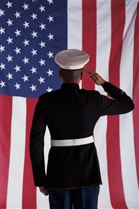 Soldier salutes flag clip art