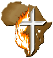 Cross and flame Africa logo for New Life Zambia