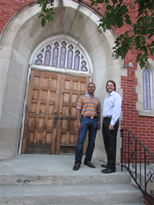 John Mathew and Justin Larosa in front of Downtown Ministry