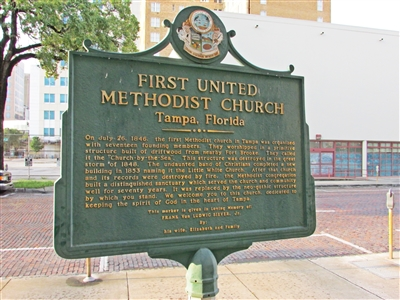 Historic placque tells history of First UMC, Tampa