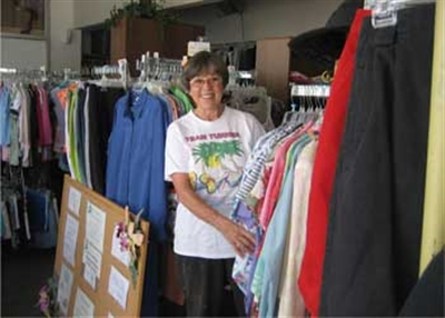 Audrey Cottrell shows clothes available at House of Hope