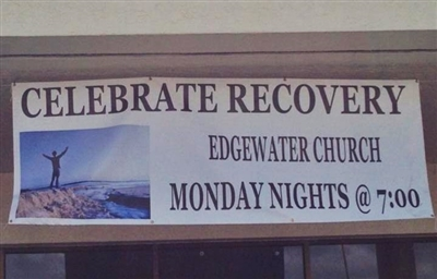 Celebrate Recovery banner at Edgewater UMC