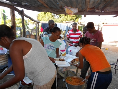 Early Christmas dinner of rice and beans in Dominican Republic