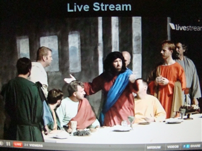 Volunteer reenactors in livestream scene from The Last Supper