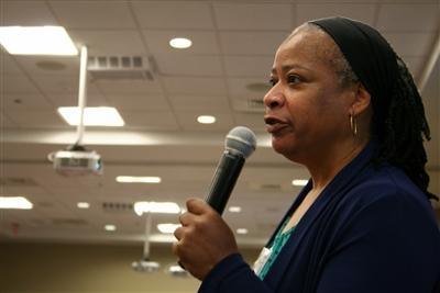 Rev. Stephanie Leonard addresses UM Clergywomen about call
