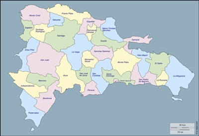 Map of Dominican Republic with provinces shown