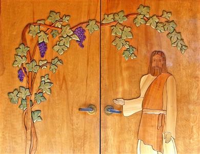 Church door with figure of Jesus beckoning inside