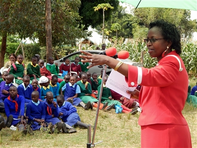 Mrs. Lucy Mbae talks to students in Kenya