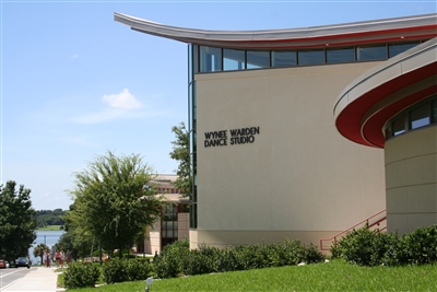 Exterior shot of new Florida Southern Dance studio with lake in the background