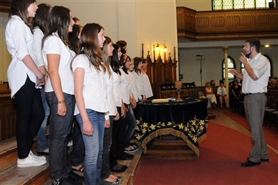 Stock photo of casual dress women's choir in a church sanctuary