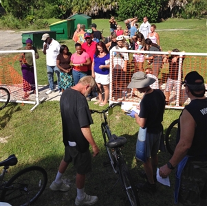 People lined up for bike giveaway at Edgewater UMC