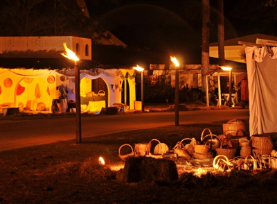 Bethlehem lit with torches and ready for drive-through visitors at Killearn UMC