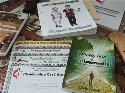 Publications produced at New Life Center print shop in Zambia