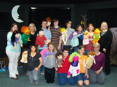 Group shot of Venice-Nokomis UMC puppet team