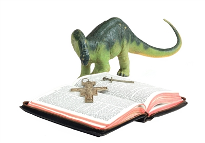 Illustration of dinosaur reading scripture