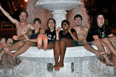 FSU Wesley students in front of Fountain