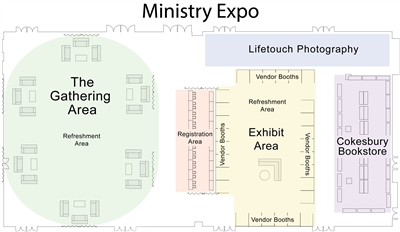 Graphic depicts Ministry Expo layout