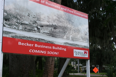 Becker Building under construction sign