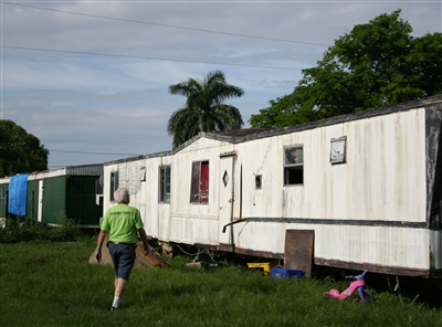 Hank Lunsford of Trinity UMC, Sarasota, approaches home in Pahokee