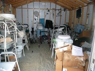 Medical equipment loan items in Morrison UMC shed