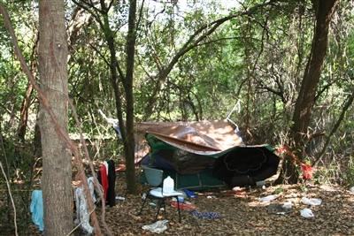 Tent in homeless camp in Seffner