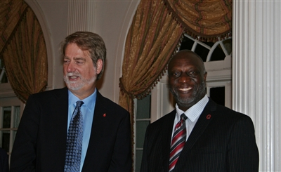 Bishop Carter with Jim Salley at Africa University Initiative launch at Florida Southern