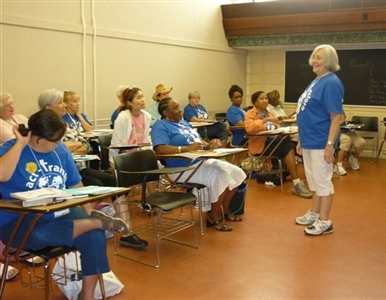 Older women's class at Mission u shows participants of mixed ethnic origin