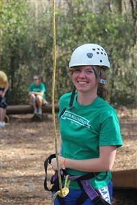 Shannon Moore on Gator Wesley retreat ropes course
