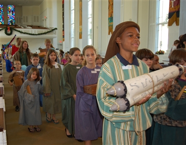 Children at First UMC, Orlando, in Walk through Bethlehem