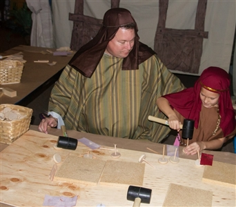 Members dressed in apparel of Jesus's time at Spring of Life UMC
