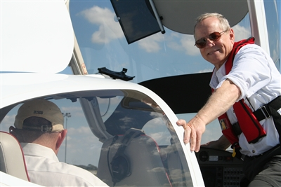 Grover McNair prepares to take the pilot's seat
