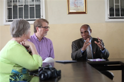 Pam and Bishop Carter meet with Bishop Eben Kanukayi Nhiwatiwa of Zimbabwe