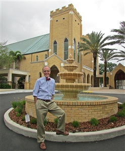 Jim Harnish in front of Hyde Park UMC, Tampa