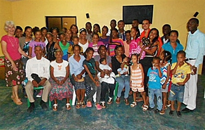 Connie DiLeo, far left, with attendees of her mission church plant