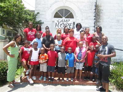 Camp Hope participants in front of Freedom UMC, Waldo