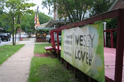 FSU Wesley House shown in a prime location on a busy campus street