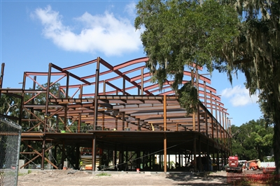 Framework of new business building under construction at Florida Southern
