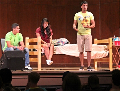 SCREAM Theater performers dramatize a date rape scene at UF Auditorium