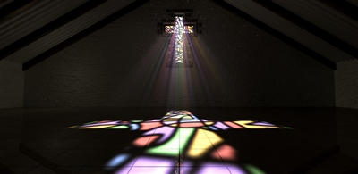 Sun shines through stained glass cross into empty room