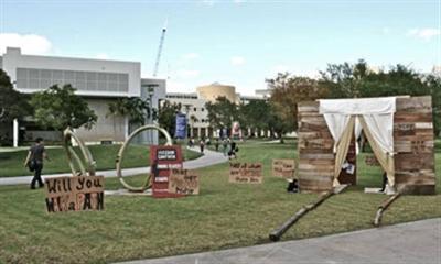 Mock brothel set up by students at Florida International University